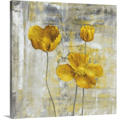 'Yellow Flowers II' Painting Print on Canvas Size: 16