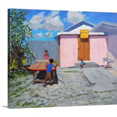 'Ping Pong, De African Queen Hideaway, Barbados' by Andrew Macara Painting Print on Canvas 2359980_24_24x20_none