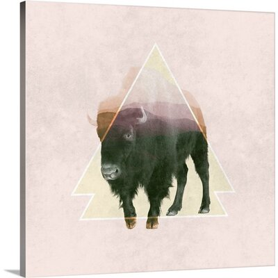 'Double Exposure Wildlife Art - Bison I' by Circle Art Group Painting Print on Canvas Size: 20