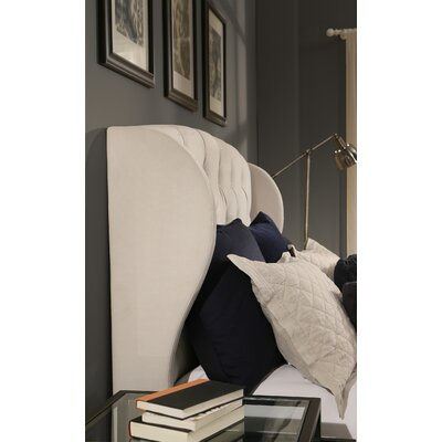 Archer Upholstered Wingback Headboard Size: Queen/Full, Upholstery: Ivory