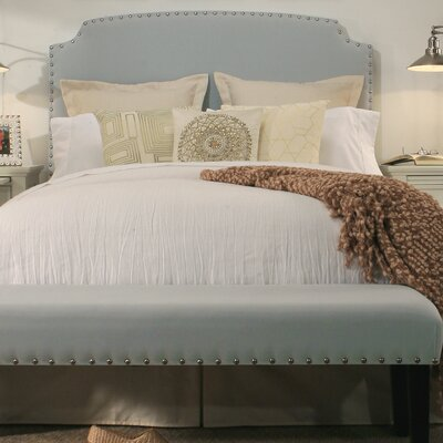 Almeida Upholstered Panel Headboard And Bench Size: Queen, Upholstery: Dusty Aqua