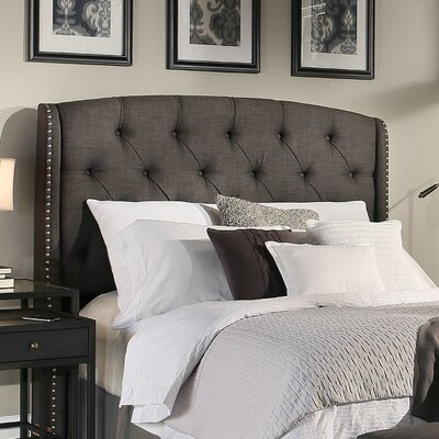 Peyton Upholstered Wingback Headboard Size: Queen/Full, Upholstery: Gray