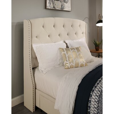 Peyton Upholstered Wingback Headboard Size: Queen/Full, Upholstery: Ivory