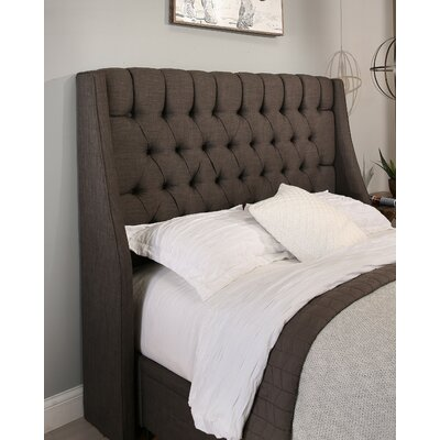 Cambridge Upholstered Wingback Headboard Size: Full/Queen, Upholstery: Gray