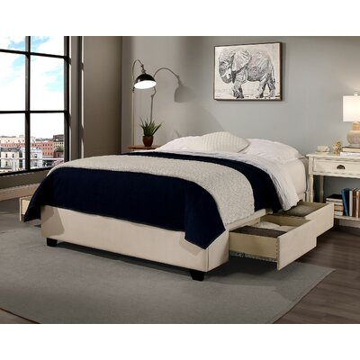 Premium Upholstered Storage Platform Bed Size: California King, Color: Ivory