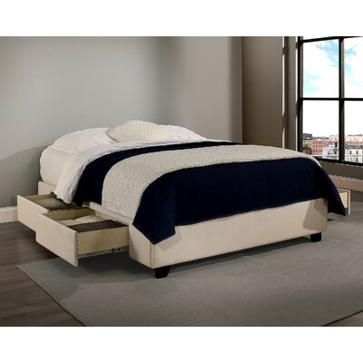 Premium Upholstered Storage Platform Bed Size: California King, Upholstery: Ivory