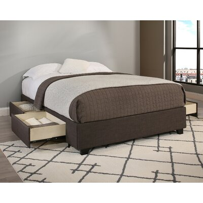 Premium Upholstered Storage Platform Bed Size: King, Upholstery: Gray