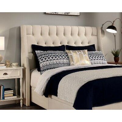 Cambridge Upholstered Wingback Headboard Size: Full/Queen, Upholstery: Ivory