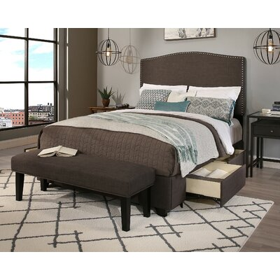 Newport Upholstered 2 Piece Panel Headboard and Bench Size: Queen/Full, Color: Brown