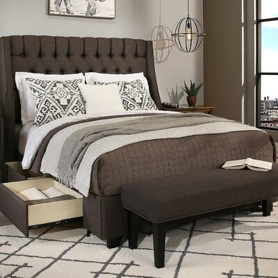 Cambridge Storage Platform Bed Size: King, Upholstery Color: Grey