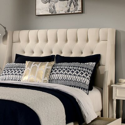 Cambridge Upholstered Wingback Headboard and Bench Size: Queen/Full, Upholstery: Ivory