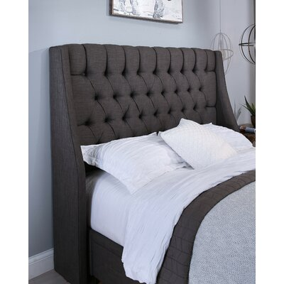 Difranco Upholstered Wingback Headboard Size: Full/Queen, Upholstery: Gray