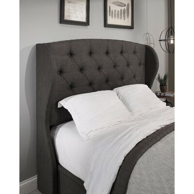 Archer Upholstered Wingback Headboard Size: Queen/Full, Upholstery: Grey