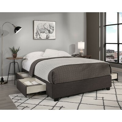 Premium Upholstered Storage Platform Bed Size: California King, Color: Gray