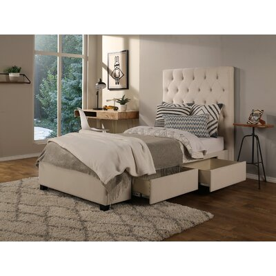 Ariane Twin Upholstered Storage Metal Panel Bed Drawer Storage: None, Color: Ivory