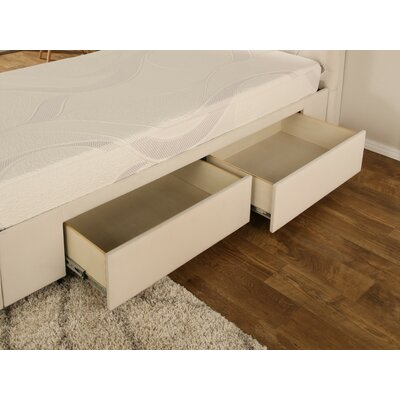 Ariane Twin Upholstered Storage Panel Bed Drawer Storage: None, Color: Ivory