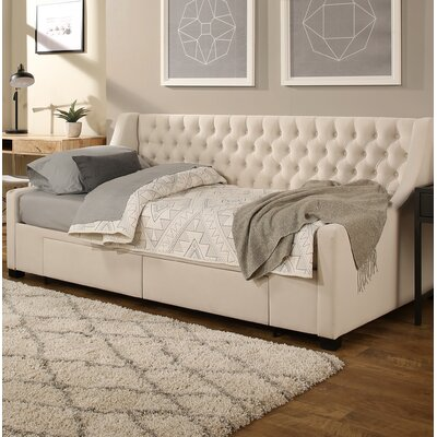 Aron Twin Upholstery Storage Daybed Color: Ivory
