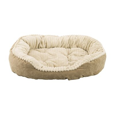 Carved Plush Dog Bed Color: Tan, Size: 9 H x 25 W x 32 D