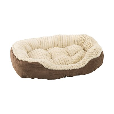 Carved Plush Dog Bed Color: Chocolate, Size: 9 H x 25 W x 32 D