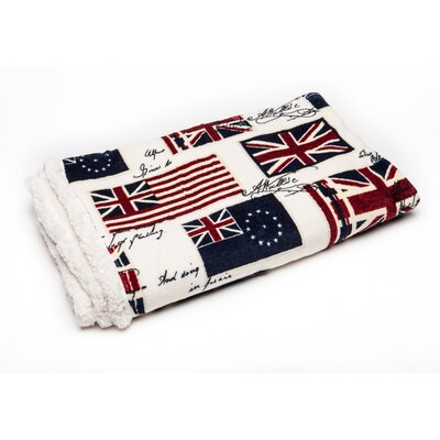 UK Flag Print Super Soft Sherpa Throw Blanket