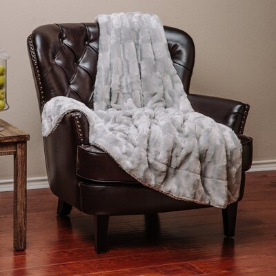 Britten Super Soft Cozy Sherpa Fuzzy Fur Warm Throw Blanket Color: Light Gray