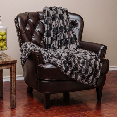 Britten Super Soft Cozy Sherpa Fuzzy Fur Warm Throw Blanket Color: Dark Gray