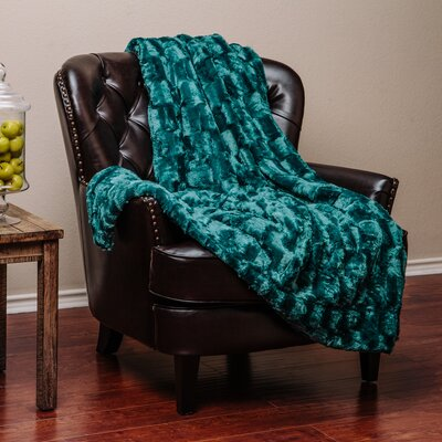 Britten Super Soft Cozy Sherpa Fuzzy Fur Warm Throw Blanket Color: Teal