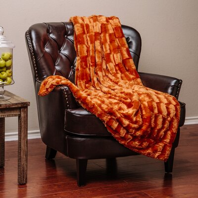 Britten Super Soft Cozy Sherpa Fuzzy Fur Warm Throw Blanket Color: Orange