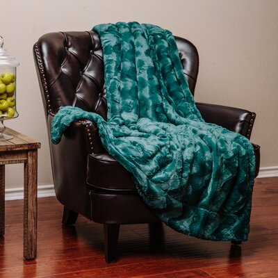 Super Soft Warm Elegent Waivey Pattern Cozy Sherpa Throw Blanket Color: Teal