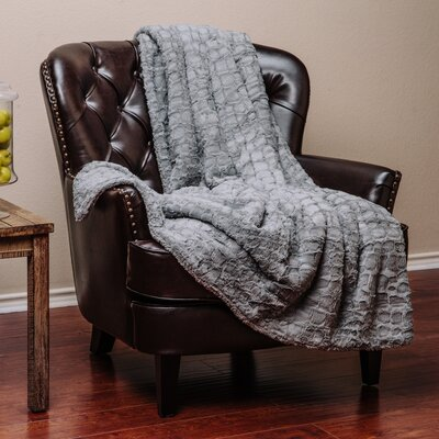 Embosed Pattern Super Soft Fuzzy Warm Fur Throw Blanket Color: Gray