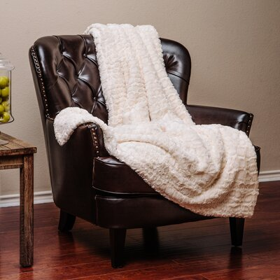 Embosed Pattern Super Soft Fuzzy Warm Fur Throw Blanket Color: Ivory
