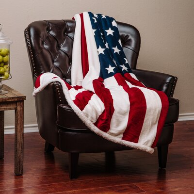 US Flag Print Super Soft Sherpa Throw Blanket Size: 65 L x 50 W