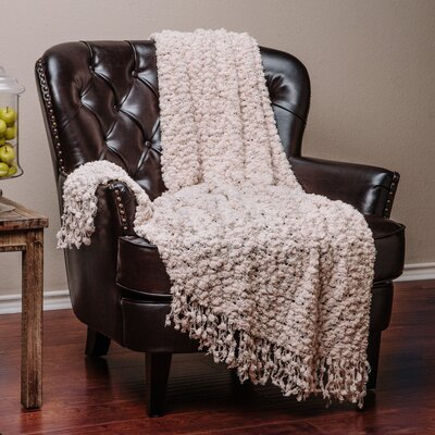 Decorative Woven Popcorn Texture Knit Throw Blanket Color: Beige