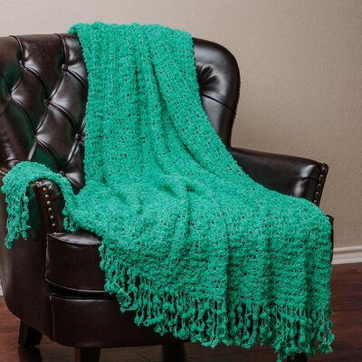 Decorative Woven Popcorn Texture Knit Throw Blanket Color: Aqua