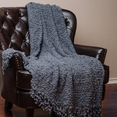 Decorative Woven Popcorn Texture Knit Throw Blanket Color: Gray