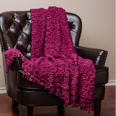 Decorative Woven Popcorn Texture Knit Throw Color: Maroon, Size: 50 W x 60 L