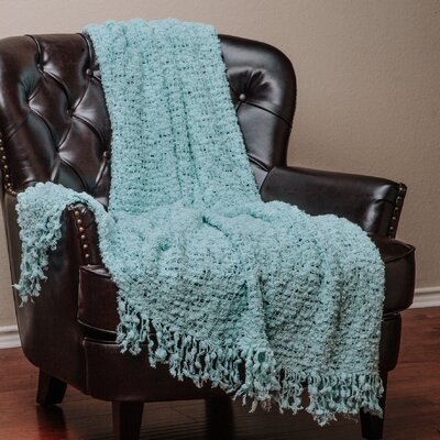 Decorative Woven Popcorn Texture Knit Throw Color: Teal, Size: 10 W x 12 L