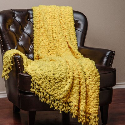 Decorative Woven Popcorn Texture Knit Throw Color: Yellow, Size: 10 W x 12 L