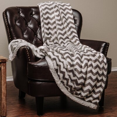 Super Soft Sherpa Chevron Throw Color: Gray, Size: 11 W x 15 L