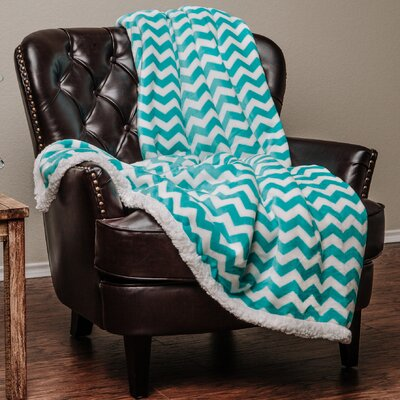 Super Soft Sherpa Chevron Throw Color: Teal, Size: 11 W x 15 L