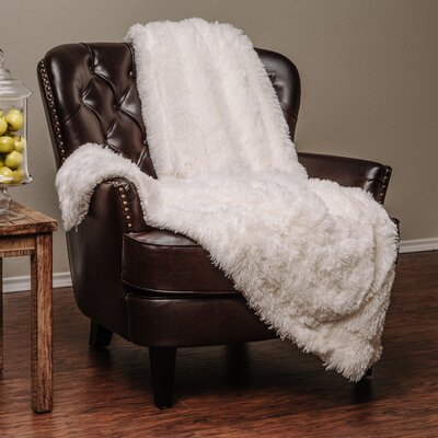 Super Shaggy Elegent Sherpa Long Fur Throw Blanket Color: White, Size: 50Wx65L