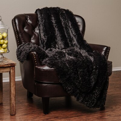 Super Shaggy Elegent Sherpa Long Fur Throw Blanket Color: Black, Size: 50Wx65L