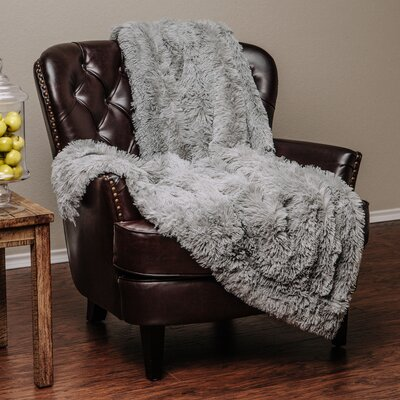 Super Shaggy Elegent Sherpa Long Fur Throw Blanket Color: Gray, Size: 60Wx70L
