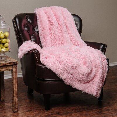 Super Shaggy Elegent Sherpa Long Fur Throw Blanket Color: Pink, Size: 50Wx65L