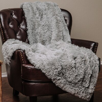 Shaggy Super Elegent Sherpa Long Fur Throw Color: Gray, Size: 85 W x 92 L
