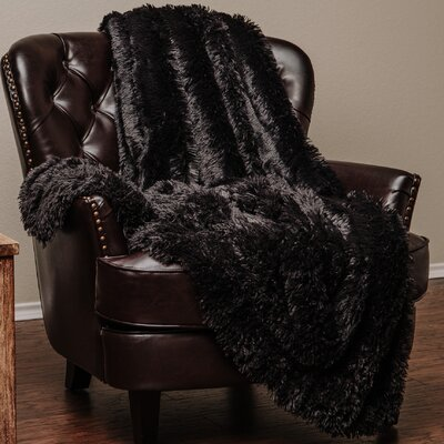 Shaggy Super Elegent Sherpa Long Fur Throw Color: Black, Size: 60 W x 70 L