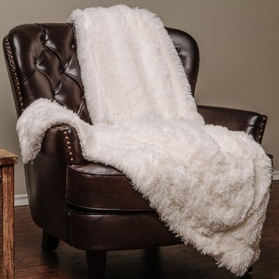 Shaggy Super Elegent Sherpa Long Fur Throw Color: White, Size: 85 W x 92 L