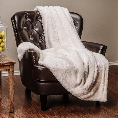 Super Soft Cozy Faux Fur Geometric Sherpa Throw Blanket Color: White