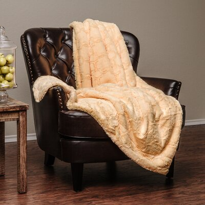 Super Soft Cozy Faux Fur Geometric Sherpa Throw Blanket Color: Yellow