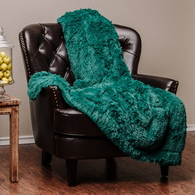 Shaggy Super Elegent Sherpa Long Fur Throw Color: Teal, Size: 50 W x 65 L